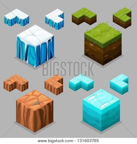 3D Isometric Landscape Cube - Ice desert land and water Element. Icon Can be used for Game Web Mobile App Infographics. Game asset.