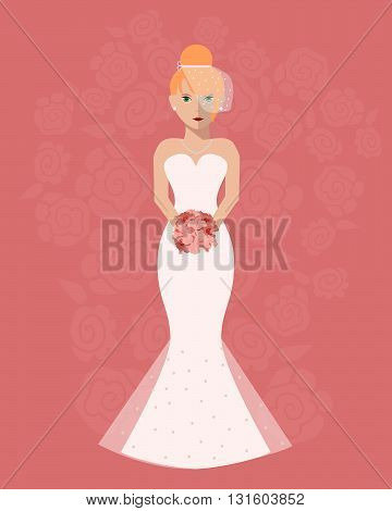 The bride in a long wedding dress with a bouquet of flowers. Vector illustration in a flat style. Wedding poster invitation decoration. Wedding fashion mermaid style