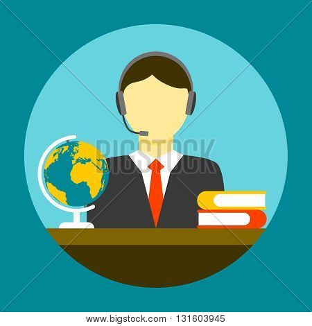 Translator man flat icon. Assistant sitting at a table with books and globe