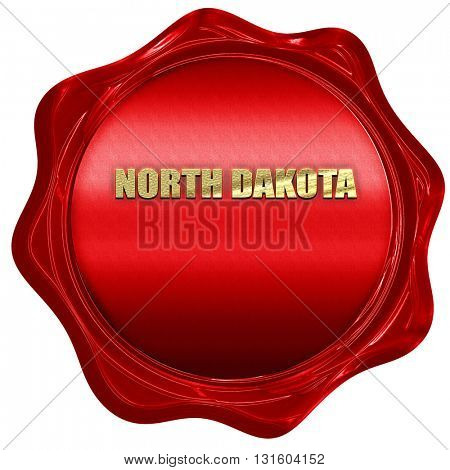 north dakota, 3D rendering, a red wax seal