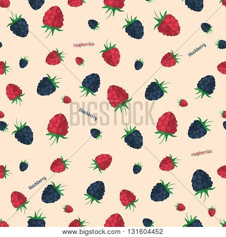 Berries seamless pattern.Vector illustration for natural dessert design. Endless texture can be used for fills web page background surface. Elements: berry raspberry blackberry.