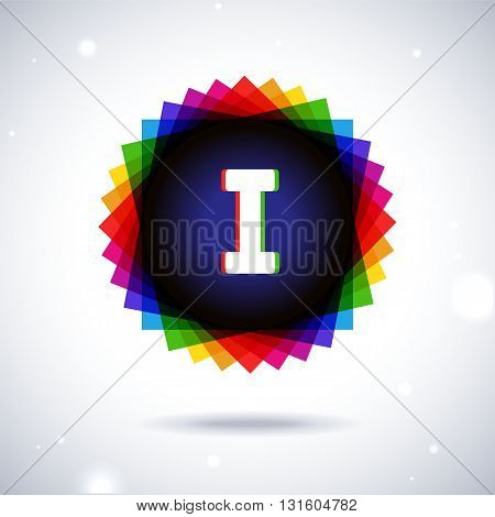 Spectrum logo icon with shadow and particles. Letter I