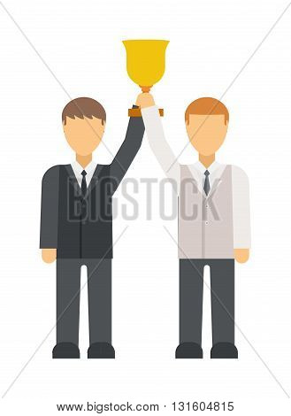 Business man get prize winners team with winner cup. People congratulating colleague winners team, Business people winners team group leader amd winners team success flat vector illustration.