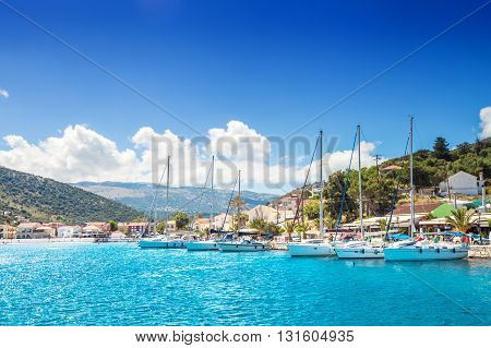 Sailboat Harbor In Small Seaside Town, Kefalonia Greece