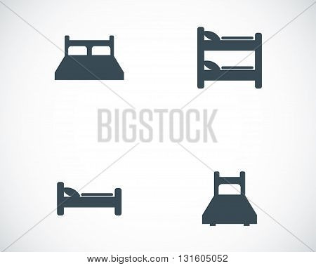Vector black bed icons set on white background