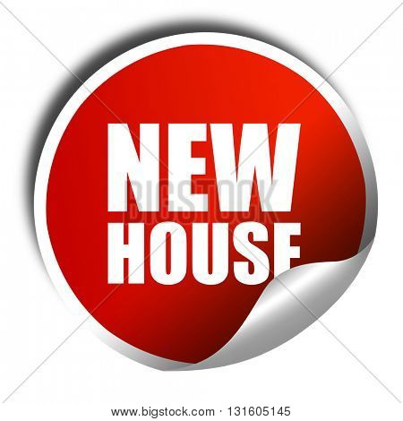 new house, 3D rendering, a red shiny sticker