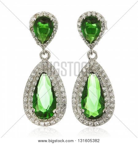 Close up of diamond earrings with diamonds