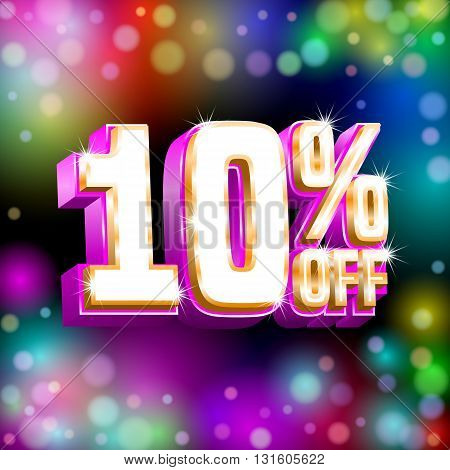 Sale design. Poster banner discount card template on the black background with bokeh lights. Vector