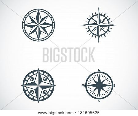 Vector black compass icons set on white background