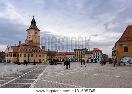 BRASOV, ROMANIA - MARCH 09, 2016: Photo of downtown and main square landmark with city council