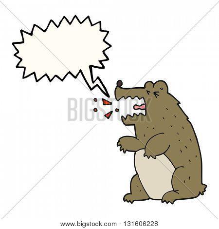 freehand drawn speech bubble cartoon bear