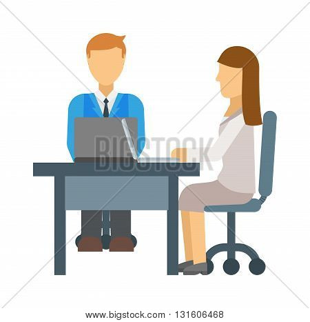 Stressful people waiting on job interview and interview vector concept. Interview office people and office businessman corporate employee interview. Interview meeting occupation professional people.