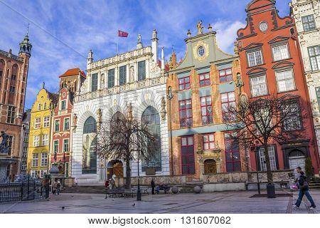 GDANSK, POLAND - NOVEMBER 13: Historic Artus Court on the Long Market in Gdansk on November 13, 2010 in Gdansk.