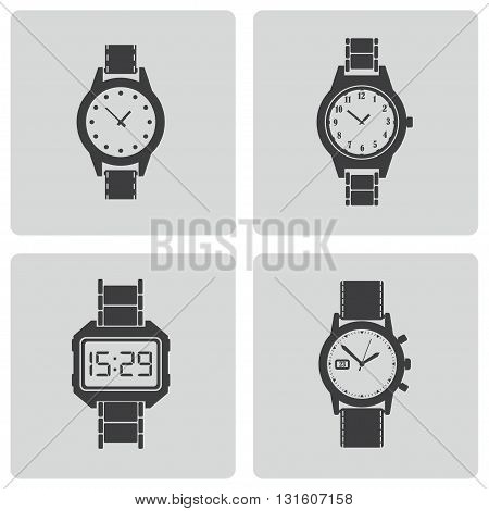 Vector black wristwatch icons set on white background