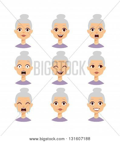 Old people grandmother emotions expression icons and funny granny emotions vector. Isolated set of funny grandmother avatar expressions face emotions vector illustration. Grandmother face