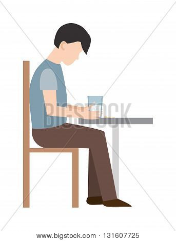 Anxious man clutching his head loser. Loser man. Sad loser man on chair. Vector flat style illustration loser isolated. Headache pain loser man and loser expression competition sad unhappy.