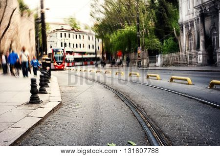 Street with tram shot with blurred background