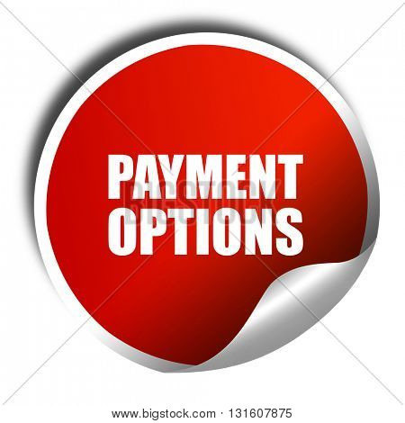 payment options, 3D rendering, a red shiny sticker