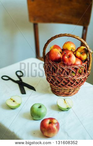 Apples  On White Table. Sweet Apples On Table On Bright Backgrou