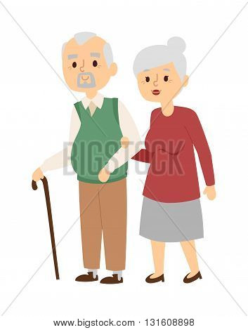 Portrait of middle aged couple outside house and happy aged people. Aged people walking couple and smiling aged people. Aged people walking together and old mans cane indoors leisure.