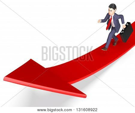 Arrow Character Indicates Business Person And Ahead 3D Rendering