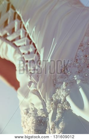 close-up element of the beautiful wedding dress
