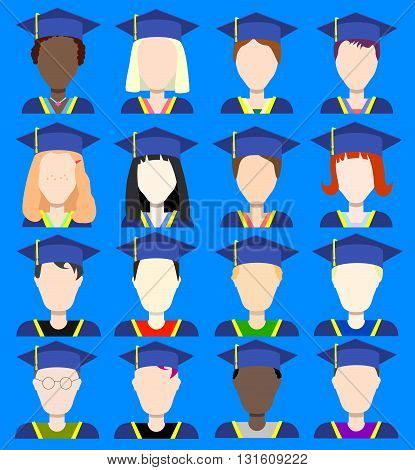 Graduates avatars flat vector icons school class on graduation day student in graduation uniform student avatar graduate icon graduated student class diverse graduates scholar in graduation cap