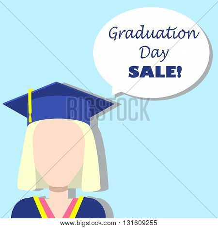 Graduation day sale illustration template graduation day sale banner graduation day sale announcement graduation day girl with bubble graduate with text bubble square picture for sale sale icon