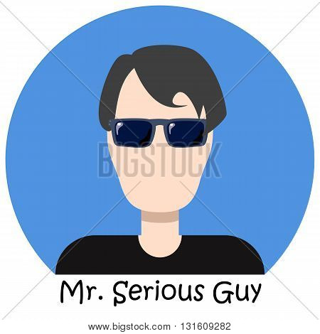Man in blue sunglasses faceless avatar icon hipster man isolated avatar man in black avatar icon single avatar icon for male person mister serious avatar icon handsome guy avatar boy icon