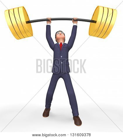 Weight Lifting Represents Fitness Center And Business 3D Rendering