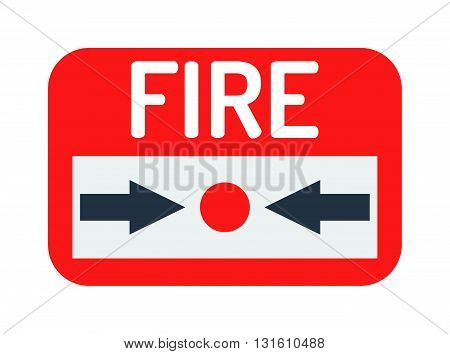 Fire button vector icon and fire button red emergency sign. Warning security system fire button and fire button break flame alert. Fire button rescue building hazard control bell information.