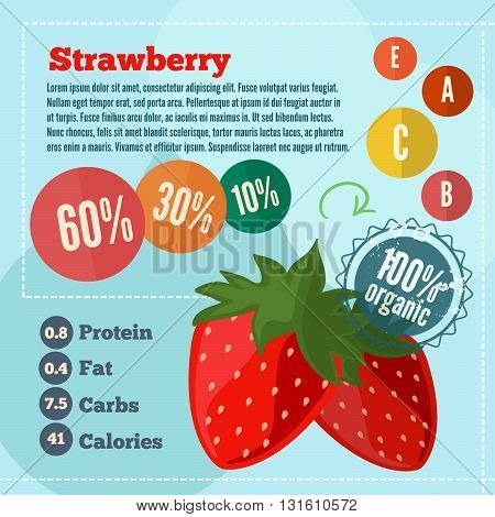 Strawberry infographics and vitamins infographics in a flat style. Vector illustration EPS 10
