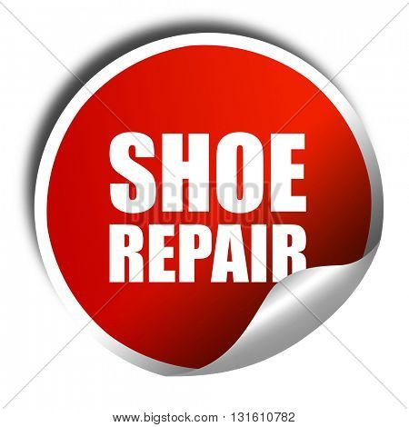 shoe repair, 3D rendering, a red shiny sticker