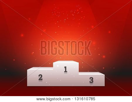 Empty template of white pedestal for winners on bright red background