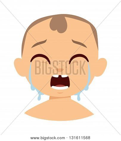 Crying baby boy isolated on white and crying boy face character. Crying boy face vector and crying boy face child expression emotion. Little cry young baby unhappy funny facial innocence.