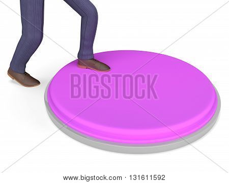 Button Businessman Shows Stop Entrepreneurs And Power 3D Rendering