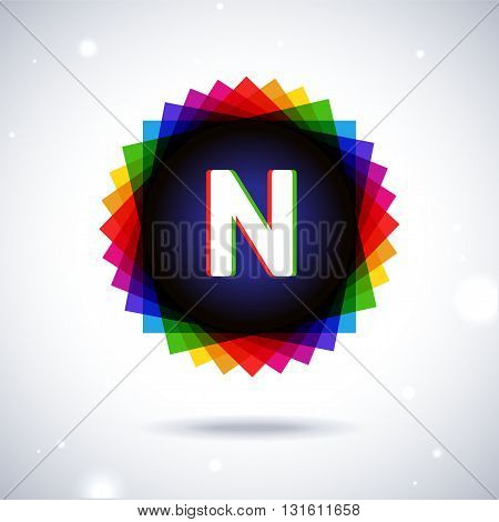 Spectrum logo icon with shadow and particles. Letter N