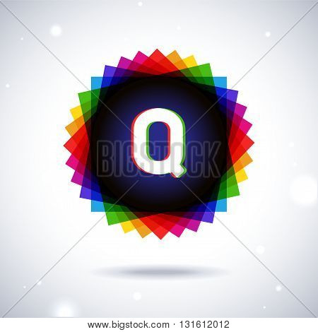 Spectrum logo icon with shadow and particles. Letter Q