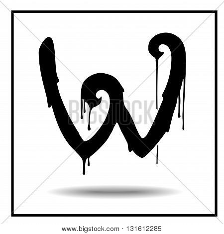 Melted grunge font. Vector illustration. Bloody letters. Melted letter W