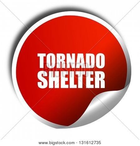 tornado shelter, 3D rendering, a red shiny sticker