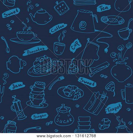 Tea party kitchen tools seamless pattern  sketch trendy dark blue color