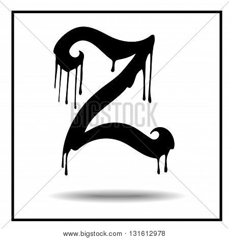 Melted grunge font. Vector illustration. Bloody letters. Melted letter Z