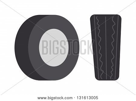 Single car tire isolated and car tire vector illustration. Wheel rubber black tyre auto car tire and car tire automobile detail rim. Shiny heap track car tire. Traction race equipment.