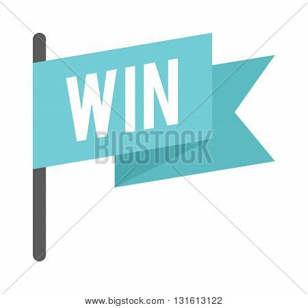 Win checkered flag for car racing vector illustration and win flag isolated on white. Win flag success competition race and victory checkered sport finishing win flag. Motocross winning flag.