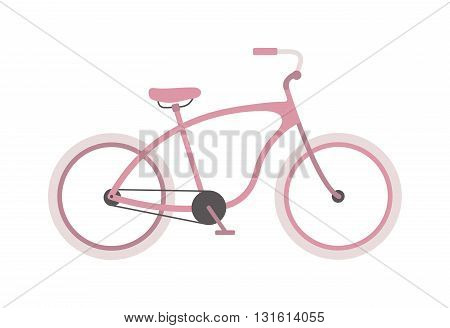Girl bike basket flowers and girl bike vector cartoon travel cycle. Girl bike happy sport leisure and girl bike urban ride fashion healthy transport. Old wheel, road biking, leisure style street bike.