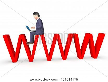 Www Character Shows World Wide Web And Business 3D Rendering