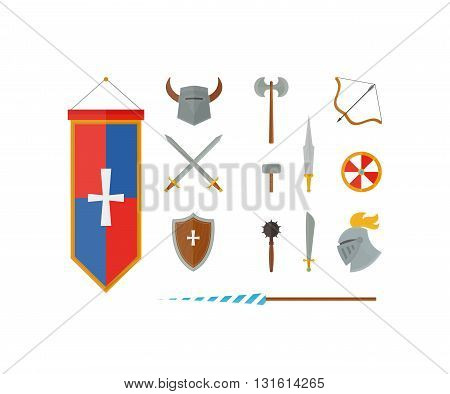 Knights symbols medieval weapons. Heraldic knight symbols and elements vector set. Medieval kingdom legendary armored knight symbols warrior with lance and knight symbols attributes.