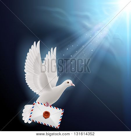 Illustration of Pigeon fly with mail into sunlight