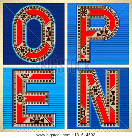 Decorative Block Typography OPEN Sign Square Tiles