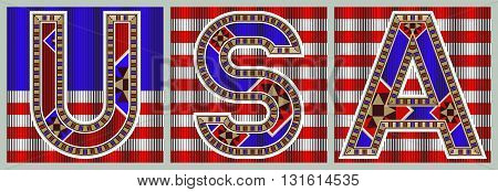 USA Decorative Block Typography On Flag Tiles